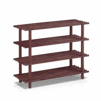 Dark Cherry Solid Wood 4-Tier Shoe Rack