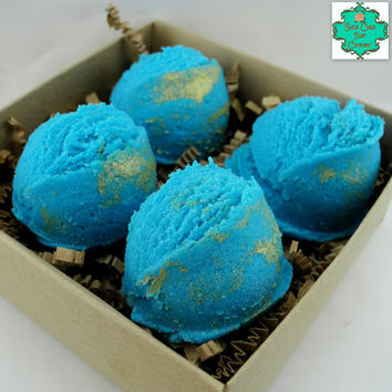 Mermaid Bath Bomb Bath Truffles - Pack of 4 Sea Goddess Scented - Bath Bomb, Bubble Bath, Bath Melt, All in one! Bath Gift Set