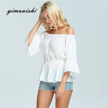white Crochet Trim Bow Tie Cuff Chambray Bardot Top Casual Summer Womens Tops Boat Neck Half Sleeve Cute Blouse