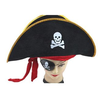 DKF4S Creative Halloween Accessories Skull Hat Caribbean Pirate Hat Skull Pirate Hat Piracy Hat Corsair Cap Party Supplies