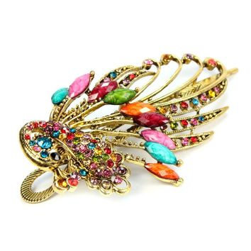 Alloy Jewelry Rhinestone Crystal Peacock Hair Clips Hairpin Color