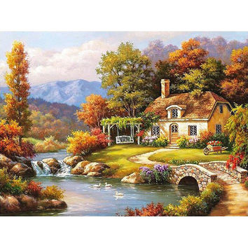 Frameless Fairyland Landscape DIY Painting By Numbers Kits Drawing Painting By Numbers Acrylic Paint On Canvas For Room Artwork
