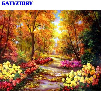 GATYZTORY Forest Landscape Diy Painting By Numbers Picture Modern Wall Art Canvas Painting Acrylic Hand Painted Drop Shipping