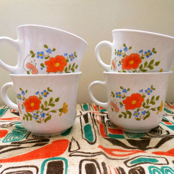 Corelle Wildflower Coffee Mugs, Corningware Wildflower Cups, Set of Four Vintage Corning Ware Wildflower Mugs, Corning Coffee Mugs