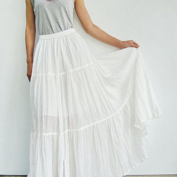NO.5 Off-White Cotton, Hippie Gypsy Boho Tiered Long Peasant Skirt