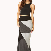 FOREVER 21 Colorblocked Maxi Skirt Black/Heather Grey Large