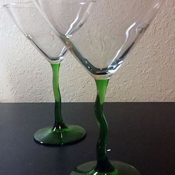 Glasses with Green Crooked Stems  S/2