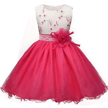 Summer Flower Dress Girl Princess Costume Dresses Girl Party Wear Tulle Kids Children Prom Gown Vestido Formal Dress 4-10 Years