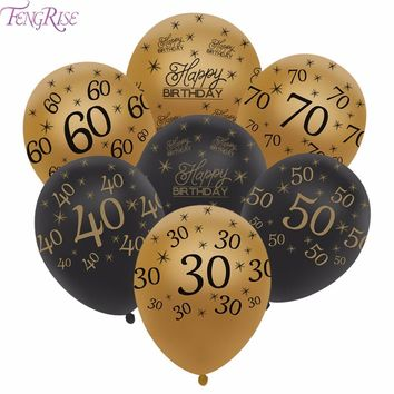FENGRISE 10pcs 12inch Happy Birthday Balloon 30 40 50 60 Anniversary Latex Balloons Wedding Anniversary Decor Birthday Supplies