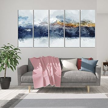 large abstract wall art, abstract mountain canvas print 5 pieces, watercolor prints wall decor, multi panell 5 pieces canvas art print, abstract painting forest qn132