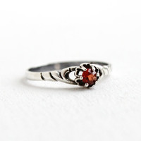 Antique Art Deco Sterling Garnet Stone Ring- 1910s 1920s Size 6 1/2 Prong Set Gemstone Jewelry