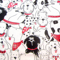 Doggone Party Cotton Fabric 1/2 yard units - Sewing Quilting - Destash Dog Red Black White Spots Hearts Timeless Treasures
