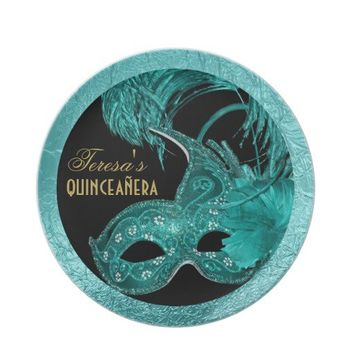 Masquerade quinceañera birthday turquoise mask dinner plates from Zazzle.com