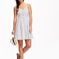 Fit & Flare Button-Down Tank Dress for Women