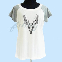 Animal skeleton t shirt wide neck thin t shirt** off white grey women t shirt size S M L **quote shirt **cute tshirts