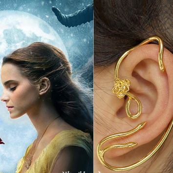One Pair of 2017 Movie Beauty and the Beast Belle Cosplay Alloy Golden Rose Tree Earrings Ear Cuff Gift Halloween Gift Accessory