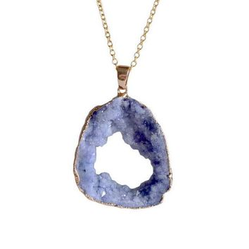 Natural Crystal Geode Slice Pendant Necklace [6 colors]
