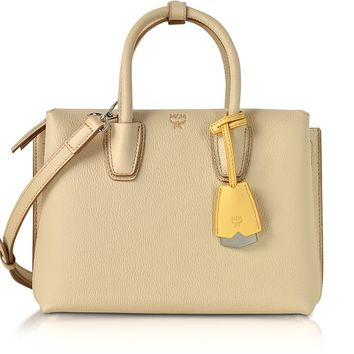 MCM Milla Latte Beige Leather Small Tote Bag