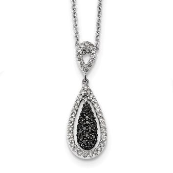 1/2 Cttw Black & White Diamond Teardrop Necklace in Sterling Silver