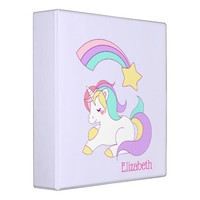 Cute Unicorn with Colorful Shooting Star Custom 3 Ring Binder