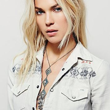 Free People All My Ex's Embroidered Buttondown