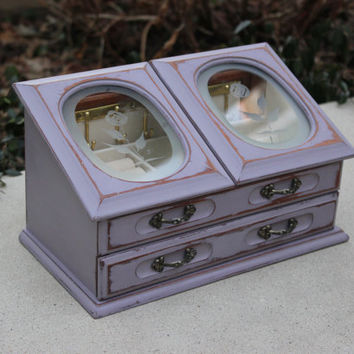 Shabby vintage purple jewelry box - Jewelry organizer, chalk paint jewelry box, gift idea, girls room