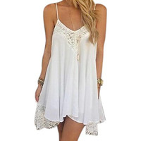 2016 Women Summer Sexy Dress Strap Chiffon Beach Party Dresses Asymmetry Lace Patchwork Mini Robe Plus Size Clothing Vestidos