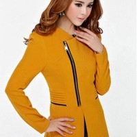 Womens Metal Zip Skinny Jackets long Sleeve Blazer Suit Coat Overcoat