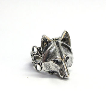 Silver Wolf Mask Ring Adjustable Filigree 059