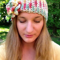 Cinched Crochet Headband, Interchangeable Flower Detail, Vegan Yarn, Multicolor