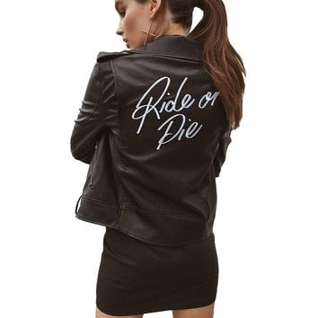 Letter Print Faux Leather Women Coat Motorcycle Zipper Jacket Cool Motorcycle Outerwear