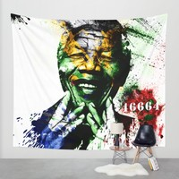 Nelson Mandela Wall Tapestry by D77 The DigArtisT | Society6