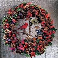 Fiber Optic Woodland Christmas Bird Wreath