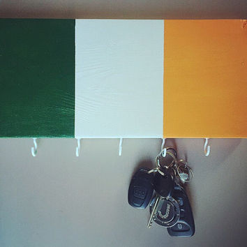 Irish Flag Hand Painted Wooden Wall Key Chain Holder; Ireland; Custom Home Decor; Wood Art; Wall Art; Irish Pride Gift; Irish Home Decor;