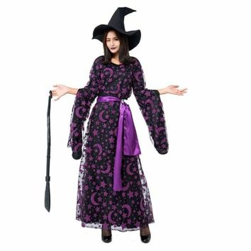 Halloween Witch Cosplay Clothes Children Fancy Dress with Magic Hat Macchar Cosplay Catalogue