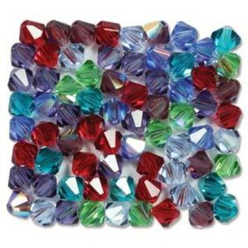 MC30204MIX14 - 4mm Preciosa Bicone Crystal Beads,  Gemtones | Pkg 144
