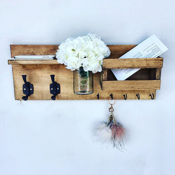 Mail Organizer (Flowers Included) , Entryway Organizer Key & Mail Holder, Coat Holder, Mason Jar Decor, Farmhouse Decor