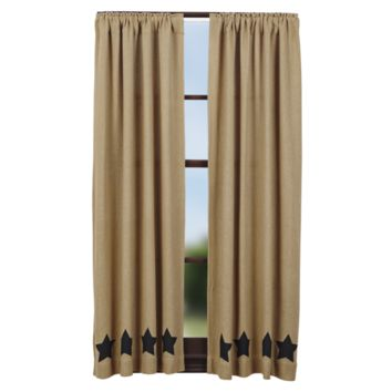 Burlap with Black Stars Short Panel Curtains