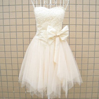 A-line Sweetheart Sleeveless Short/Mini Satin Tulle Fashion Prom Dresses/Wedding Dress/Cocktail Dress With Beading Bowknot Free Shipping