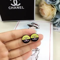 2018 new style Chanel double C Round Black and Yellow stud
