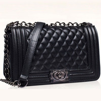 Plaid Leather Chain Clutch Shoulder Bag