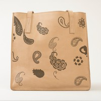 Leather tote bag with paisley dessigns