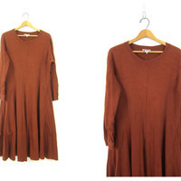 90s Rust Copper Brown Cotton Shirt Dress Basic Long Pocket Dress Long Sleeve Boho Frock Dress Boho Hipster Vintage Womens XL Extra Large