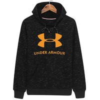 Under Armour Autumn and winter models loose and comfortable men's hooded sports pullover sweater Black