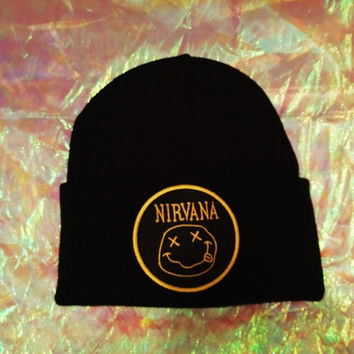 NIRVANA INSPIRED BEANIE // 90s Grunge // With or Without Spikes