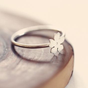 Cherry blossom ring - sterling silver stacking ring - dainty