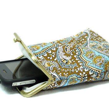 IPhone 5 Case / Cigarette Case - 5, 4, 4S, 3GS, Large Cell Phone - Paisley Brown, Blue and White 100% cotton - Antique Bronze Frame
