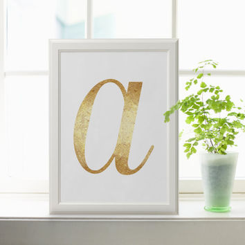 Letter A in GOLD FOIL Custom initial name print art in Gold Foil romantic Art style birthday gift girls/Boys wall art hanging baby decor