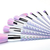 TTRwin 10Pcs Unicorn Make up Brushes Set Makeup Foundation Blusher Face Powder Brush kit
