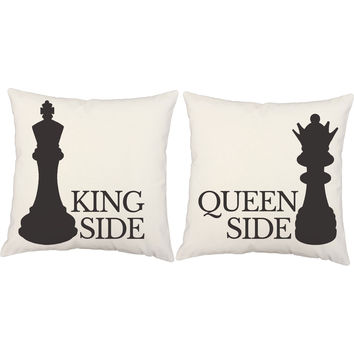 Chess King and Queen Checkmate Throw Pillows